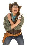 Cowgirl with gun and holster laugh Royalty Free Stock Image
