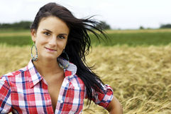 Cowgirl with hair floating Royalty Free Stock Photography