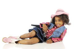 Cowgirl, Happily Relaxed Royalty Free Stock Image