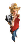 Cowgirl with hat and gun Stock Images