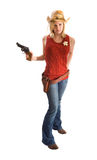 Cowgirl with hat and gun Stock Photography