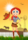 Cowgirl with hat Royalty Free Stock Images