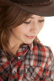 Cowgirl hat plaid shirt close look down Royalty Free Stock Image