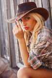 Cowgirl in hat Royalty Free Stock Photos