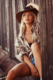 Cowgirl in hat a Stock Image
