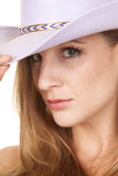 Cowgirl headshot close purple hat Stock Image