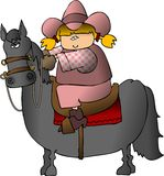Cowgirl On A Horse stock illustration