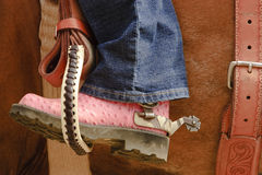 Cowgirl on horse royalty free stock photos