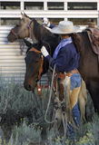 Cowgirl and Horses. A cowgirl preparing her horses for a ride Stock Image