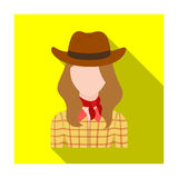 Cowgirl icon in flat style isolated on white background. Rodeo symbol. Stock Photos