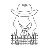 Cowgirl icon in outline style isolated on white background. Rodeo symbol. Royalty Free Stock Images