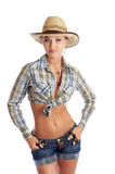 Cowgirl isolated. Cowgirl in a hat  isolated on white on a floor Royalty Free Stock Image