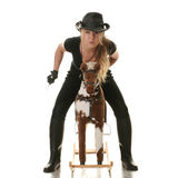 Cowgirl (jockey) race on hobbyhorse Royalty Free Stock Photo