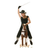Cowgirl (jockey) race on hobbyhorse Stock Images
