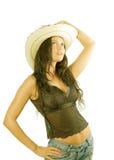 Cowgirl kraj z kapeluszem Obrazy Stock