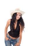 Cowgirl kraj z kapeluszem Fotografia Royalty Free