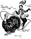 Cowgirl Lassoing Turkey Stock Photography
