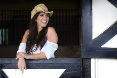 Cowgirl Laughing royalty free stock image