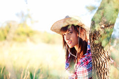 Cowgirl In Love With Wildness Stock Images