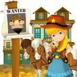 Cowgirl lub kowboj ilustracja dla dzieci - dziki zachód - Zdjęcie Stock
