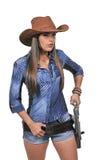 Cowgirl med relvolver Royaltyfri Foto