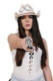 Cowgirl med relvolver Arkivbild
