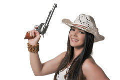 Cowgirl med relvolver Arkivfoton