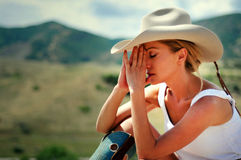 Cowgirl in the mountains Stock Image