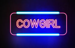 Cowgirl - Neon Sign Stock Photos