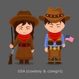 Cowgirl och cowboy västra stock illustrationer
