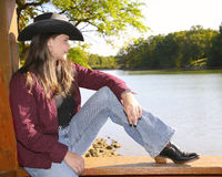 Cowgirl outside Stock Photography