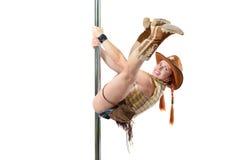 Cowgirl på en pol Royaltyfri Bild