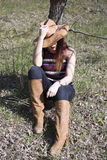 Cowgirl in park. Cowgirl in Siret forest, relax Royalty Free Stock Photos