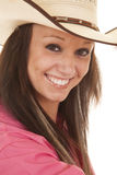 Cowgirl pink shirt close hat Stock Photo