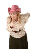 Cowgirl with pink straw hat Royalty Free Stock Photography