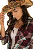 Cowgirl plaid shirt hat close look down Stock Images