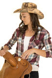 Cowgirl Plaid Shirt Hat Hold Saddle Close Stock Photos