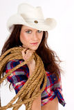 Hero CowGirl Portrait Rope White Cowboy Hat stock photos