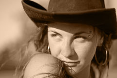 Cowgirl portrait Stock Images