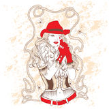 Cowgirl in a red hat and red gloves Stock Photo
