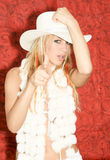 Cowgirl with Red Roses Royalty Free Stock Photos
