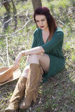 Cowgirl relax. Cowgirl in park , relax Royalty Free Stock Images