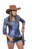 Cowgirl with relvolver Royalty Free Stock Photo