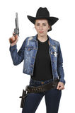 Cowgirl with relvolver Stock Photography
