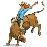 Cowgirl riding a bull, Isolated Stock Images
