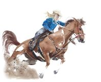 Free Cowgirl Riding Horse American Tradition Horseback Barrel Racing Watercolor Painting Illustration Isolated On White Background Stock Images - 184409414