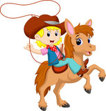 Cowgirl riding a horse with Lasso. Illustration of cowgirl riding a horse with Lasso Royalty Free Stock Photo