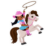 Cowgirl riding a horse with lasso. Vector illustration isolated on white background Stock Photography
