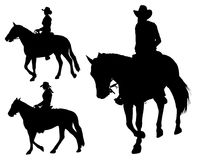 Cowgirl riding horse. Silhouettes - vector Stock Image