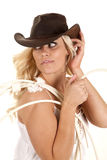 Cowgirl rope look back Royalty Free Stock Photography